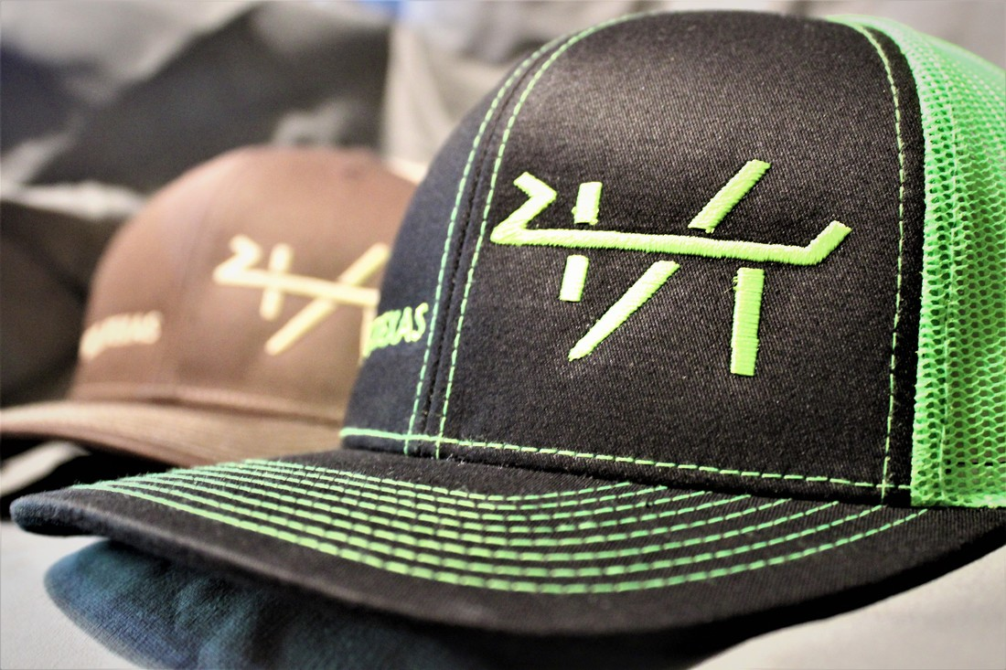 4T ranch brand stitched on a Brown and Khaki Richardson 112 and Pacific  Headwear Black with neon green mesh. Yantis 0933fc4c886